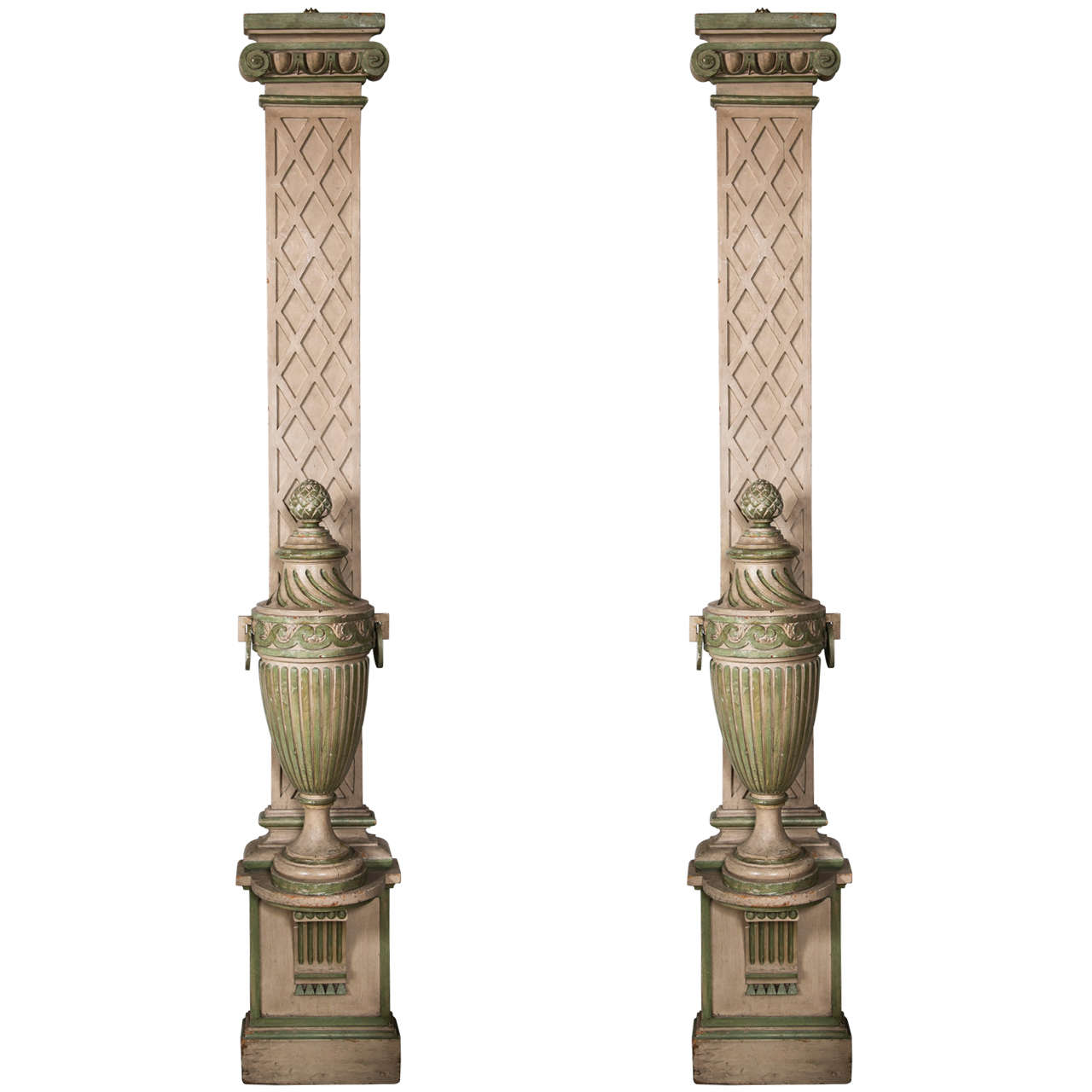 Faux Painted Columns Part - 27: 1940u0027s Faux Painted Columns With Attached Faux Painted Urns 1