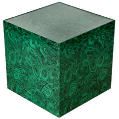 1950s 'CUBO' Side Table in malachite by Piero Fornasetti