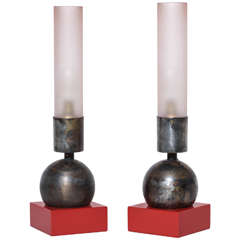 French Art Deco Pair of Small Lamps