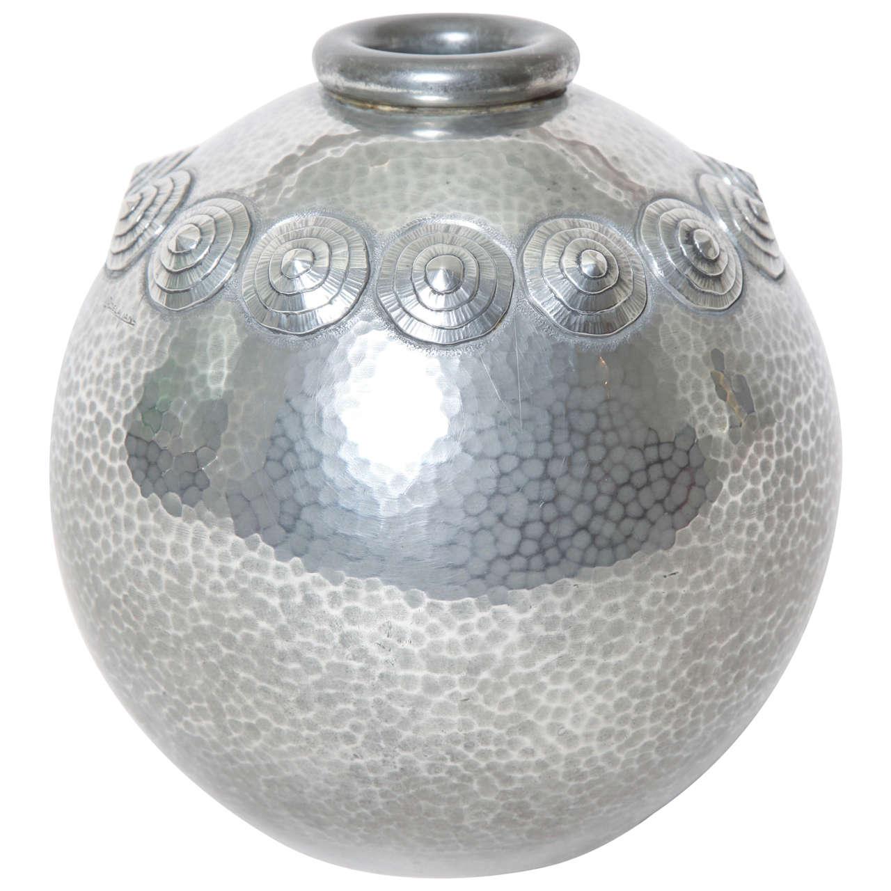 Rene Delavan French Art Deco Pewter Dinanderie Vase