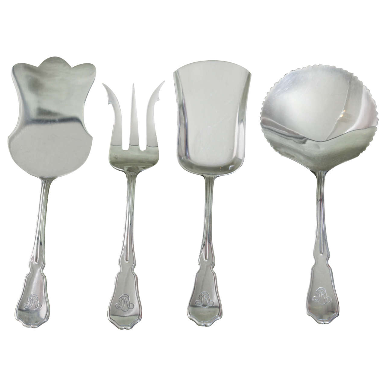 G. Keller Four-Piece Sterling Silver Hors D'oeuvres Set in Fitted Box For Sale