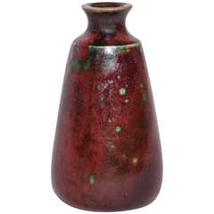 Henri Simmen French Art Deco Red with some Green Stoneware Vase