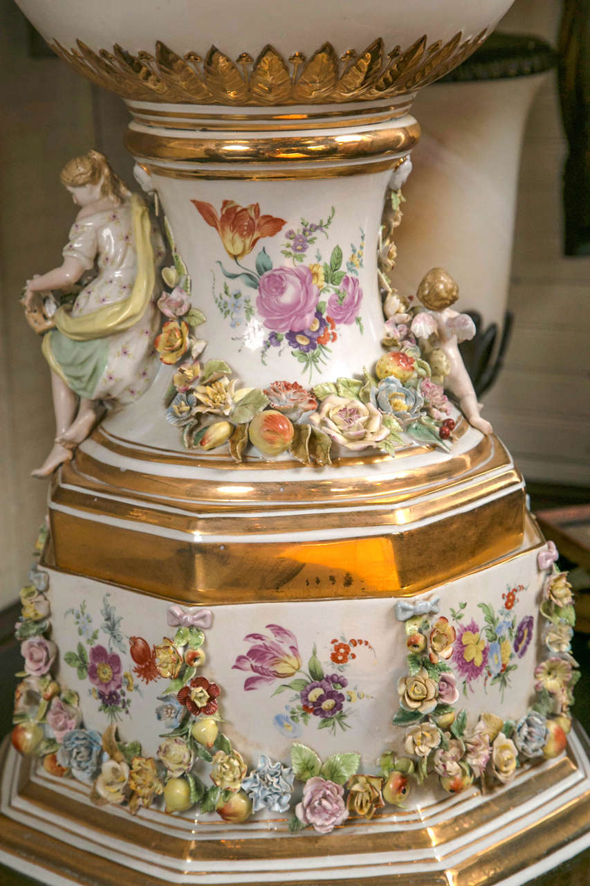 Gilt Fantastic Pair of Meissen Style Covered Urns For Sale