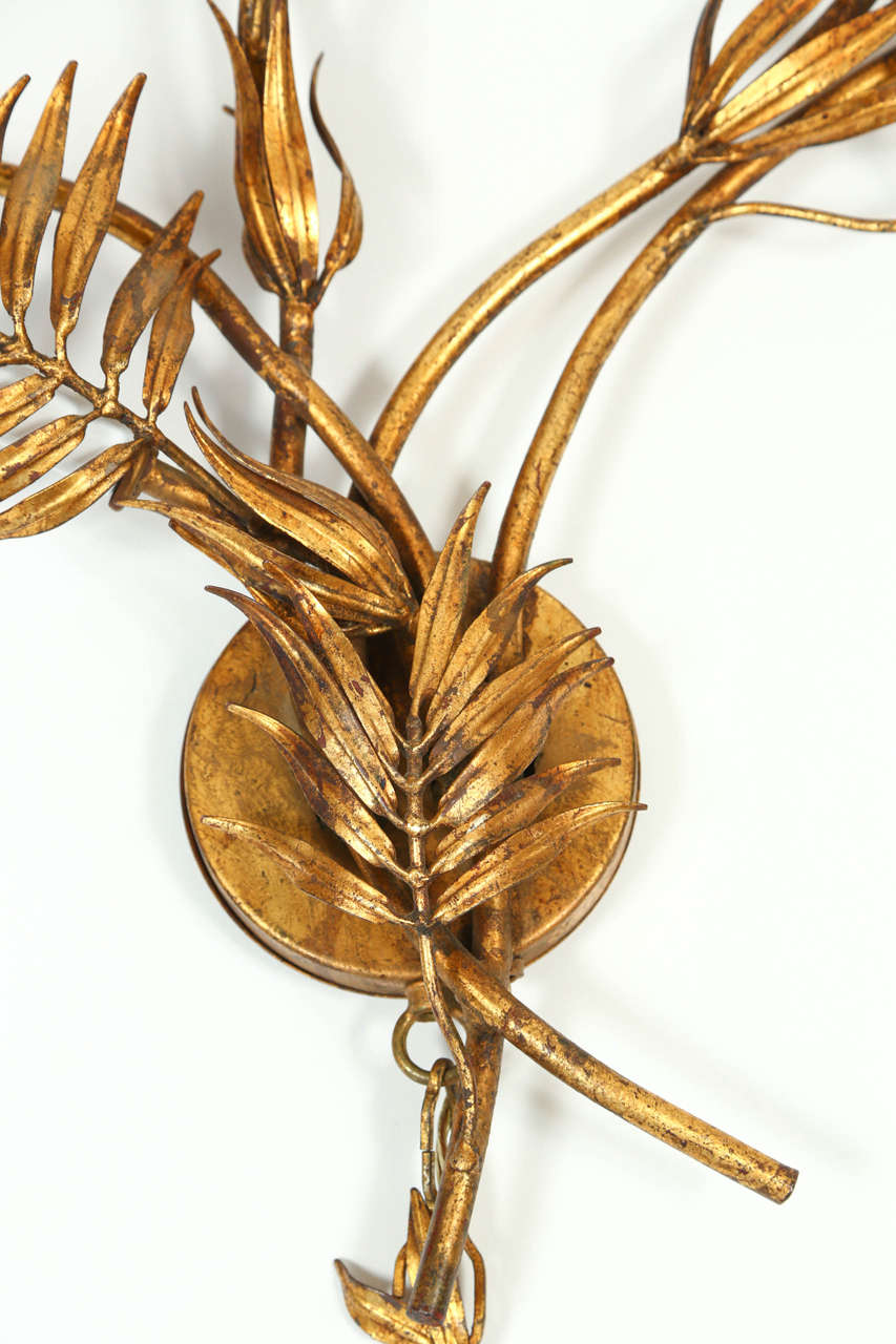 Gold Palm Leaf Wall Light At 1stdibs
