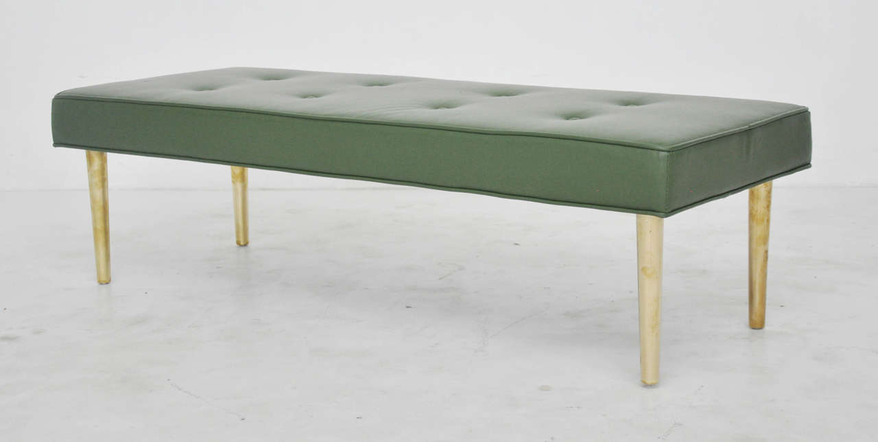 Low Dunbar Leather Bench With Brass Legs Image 6