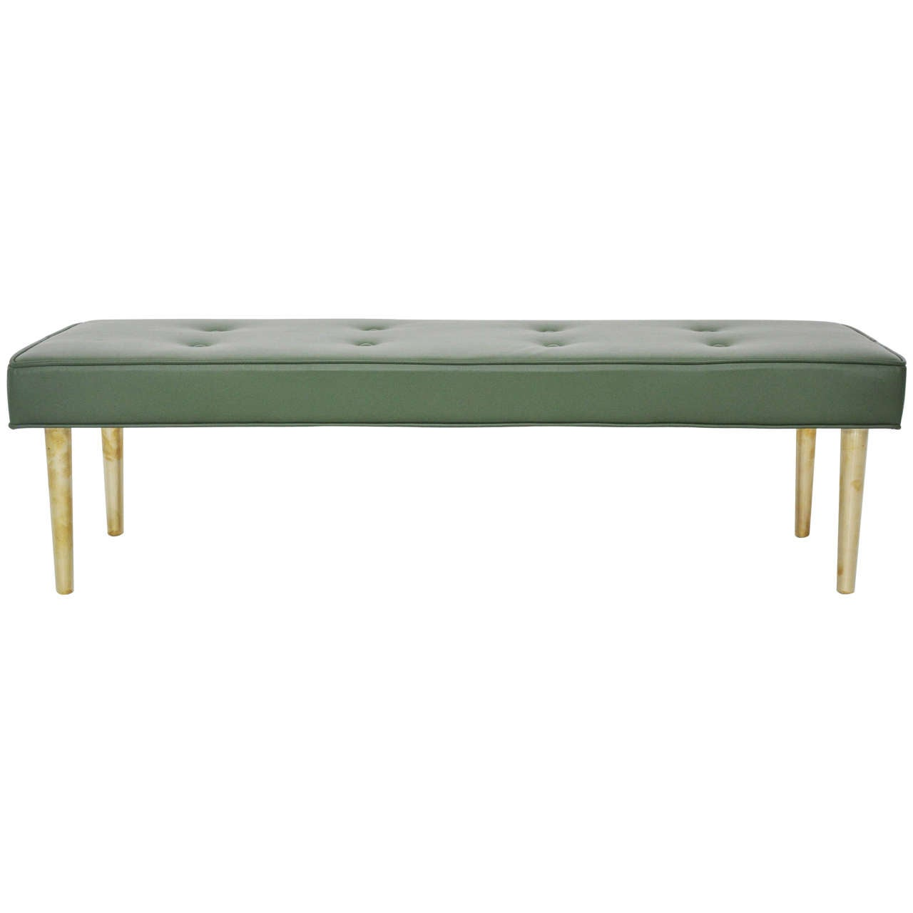 Low Dunbar Leather Bench With Brass Legs At 1stdibs