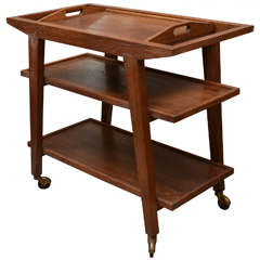Oak Trolley with Removable Tray