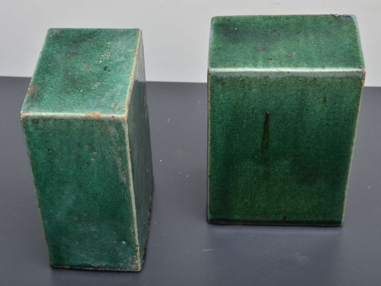 Pair Of Emerald Green Glazed Ceramic Objects At 1stdibs