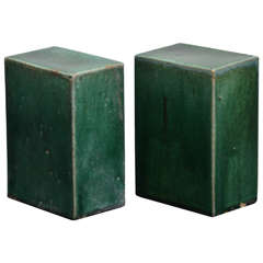 Pair of Emerald Green Glazed Ceramic Objects