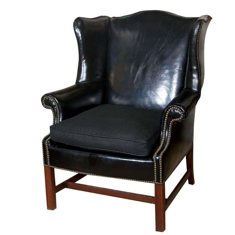 Classic Black Leather Wing Chair with Mahogany Frame at