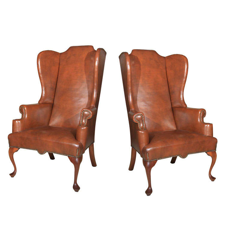 Pair of Queen Anne Style Leather Wing Chairs at 1stdibs