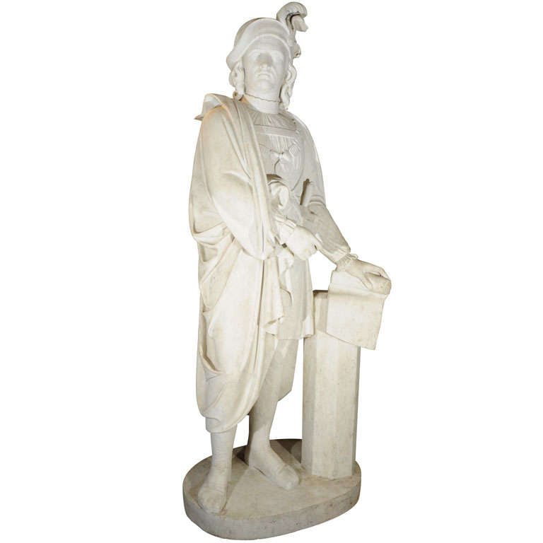 19th Century life-size Italian marble statue/ Lorenzo de Medici