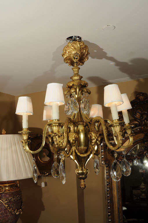 19th Bronze Dore Louis XVI Chandelier 3