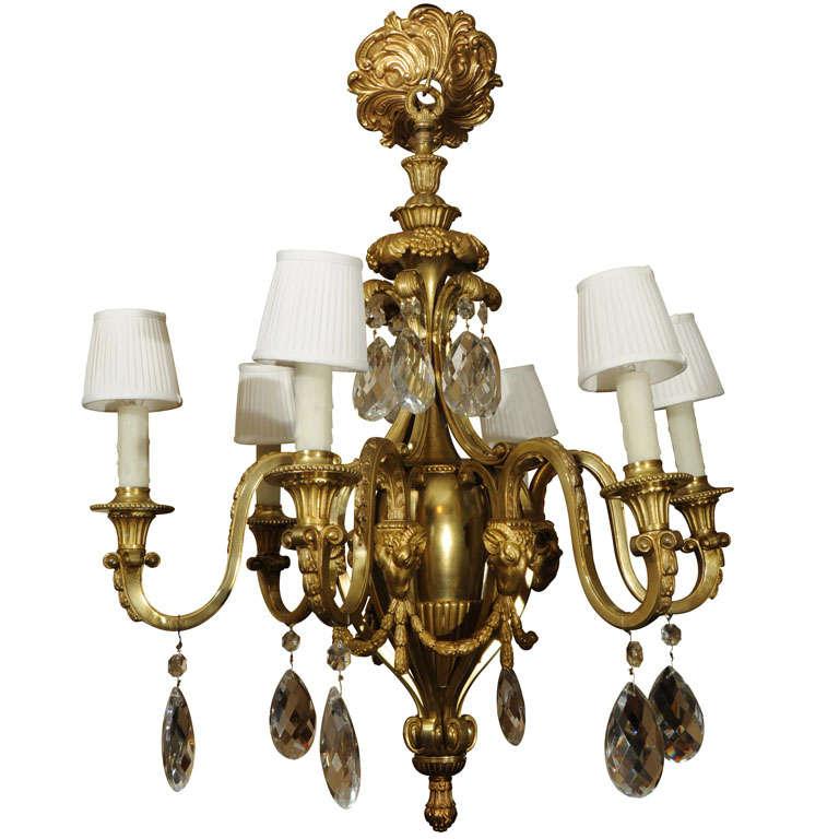 19th Bronze Dore Louis XVI Chandelier 1
