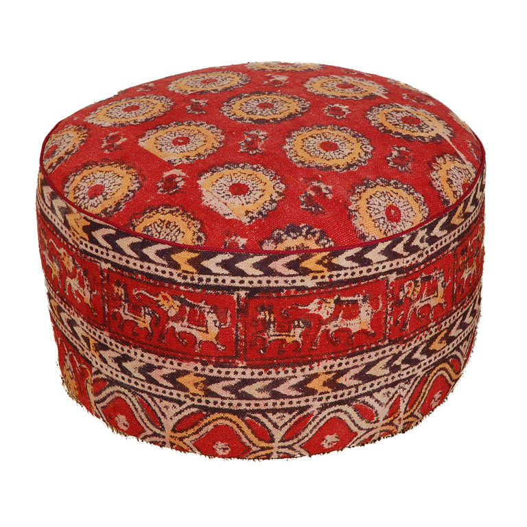 Beau Vintage Indian Kalamkari Textile Upholstered Hassock For Sale