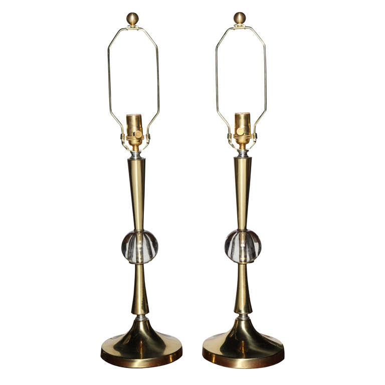 Pair of Hollywood Regency Fluted Brass and Crystal Ball Table Lamps, 1950s