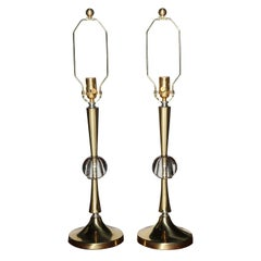 Pair of Hollywood Regency Fluted Brass with Crystal Ball Table Lamps, 1950s