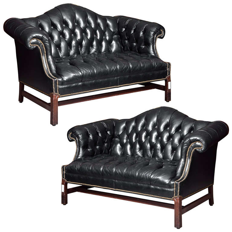 Pair Of Chesterfield Leather Sofas Loveseats At 1stdibs