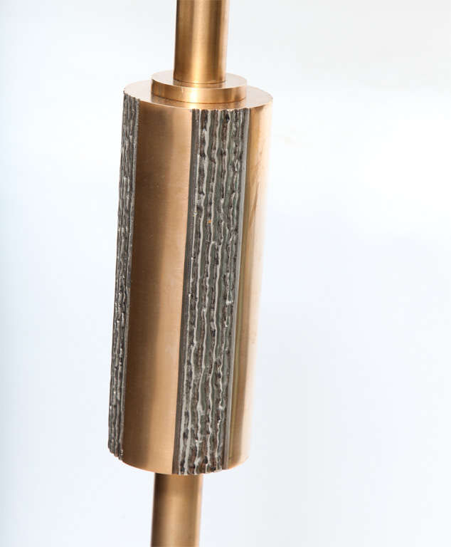 1960s Architectural Bronze And Silver Floor Lamp At 1stdibs