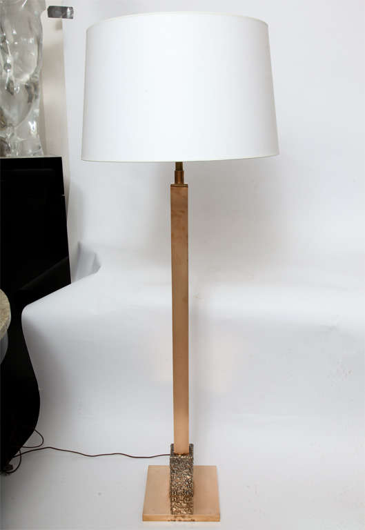 A 1960s architectural bronze and silver floor lamp. New sockets and rewired Shade not included