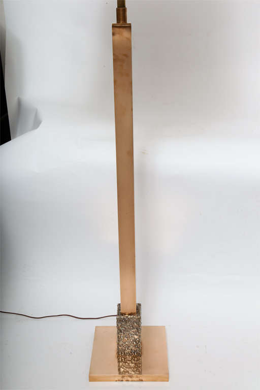 Mid-Century Modern  Floor Lamp Mid Century Modern Architectural bronze and silver 1960's For Sale