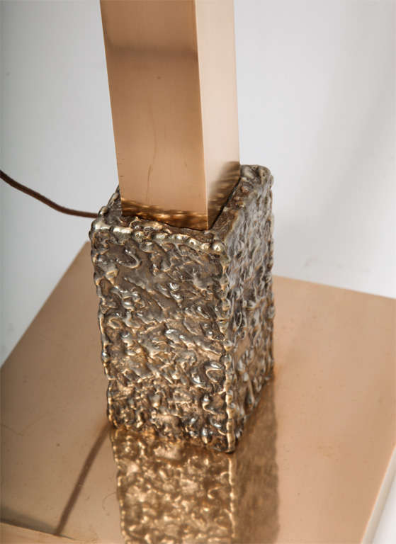 Mid-20th Century  Floor Lamp Mid Century Modern Architectural bronze and silver 1960's For Sale
