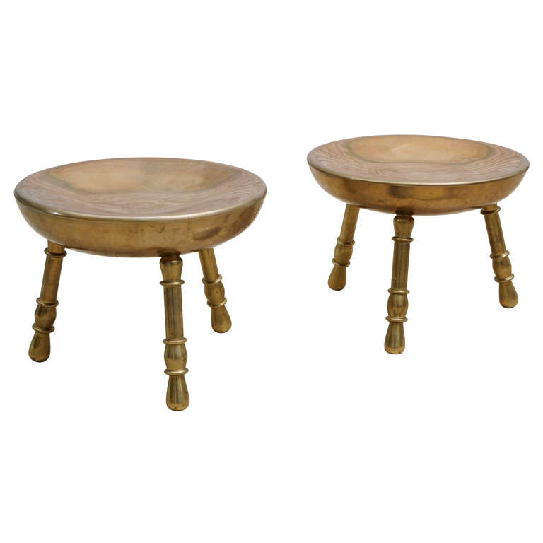 Pair Of Vintage Moroccan Brass Stools At 1stdibs