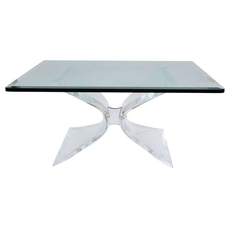 Leon Frost Lucite And Chrome Coffee Table At 1stdibs