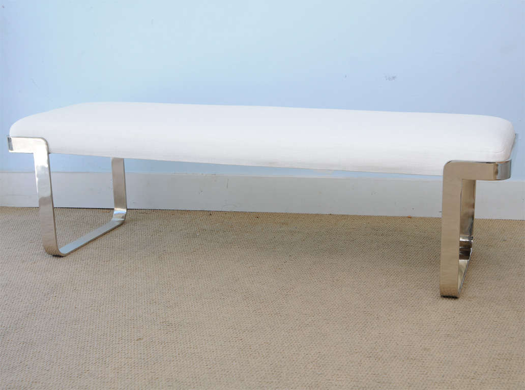 Marvelous photograph of bench with metal legs in plated fin . Wood foam upholstered seat  with #3F668C color and 1032x768 pixels