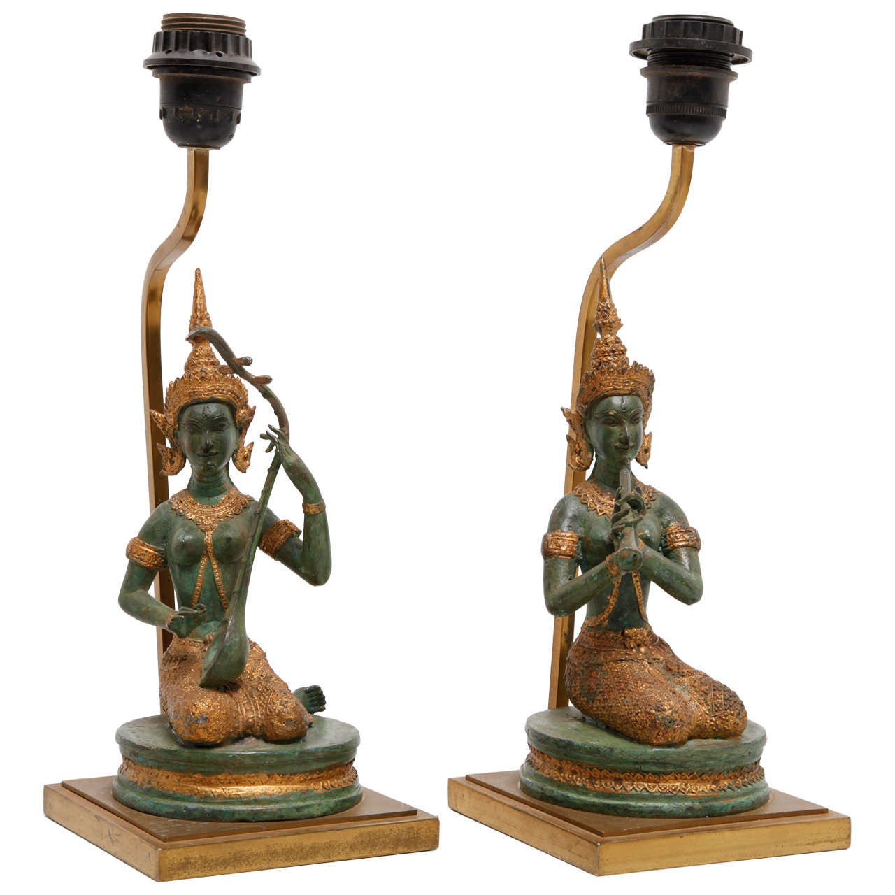 A set of bronze gilded indian goddesses table lamps for sale at a set of bronze gilded indian goddesses table lamps 1 geotapseo Gallery