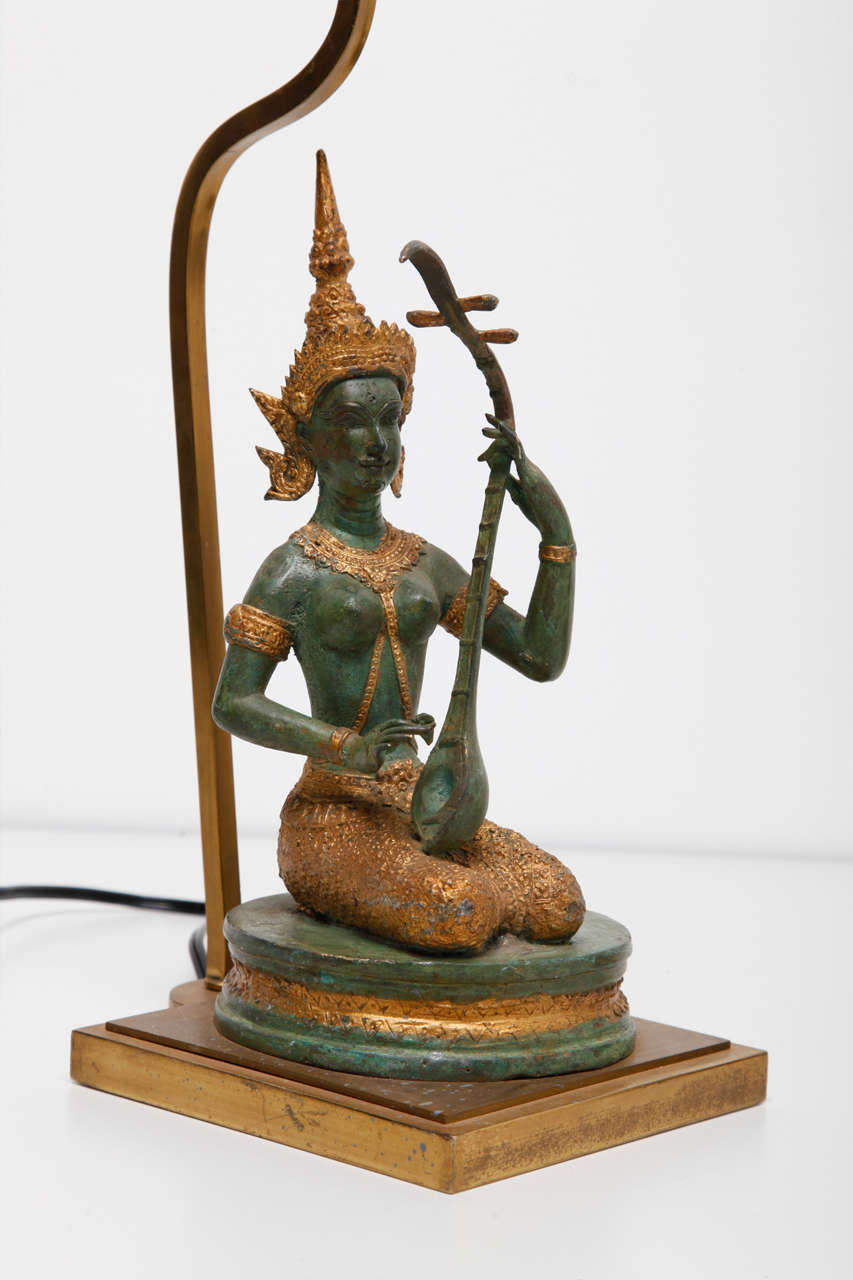 Mid Century Modern A Set Of Bronze Gilded Indian Goddesses Table Lamps. For  Sale