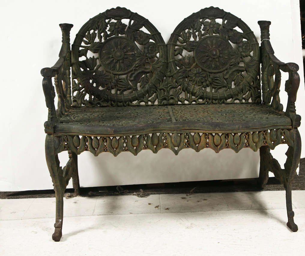 American Cast Iron Garden Bench At 1stdibs