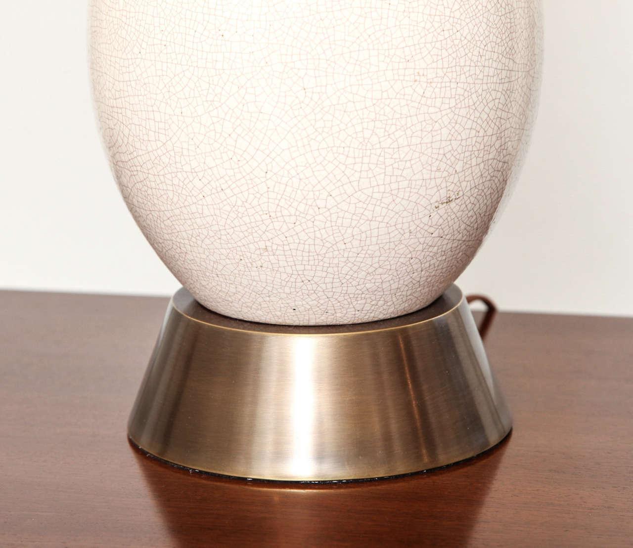 tall white crackle glazed ceramic table lamp c 1950 at 1stdibs. Black Bedroom Furniture Sets. Home Design Ideas