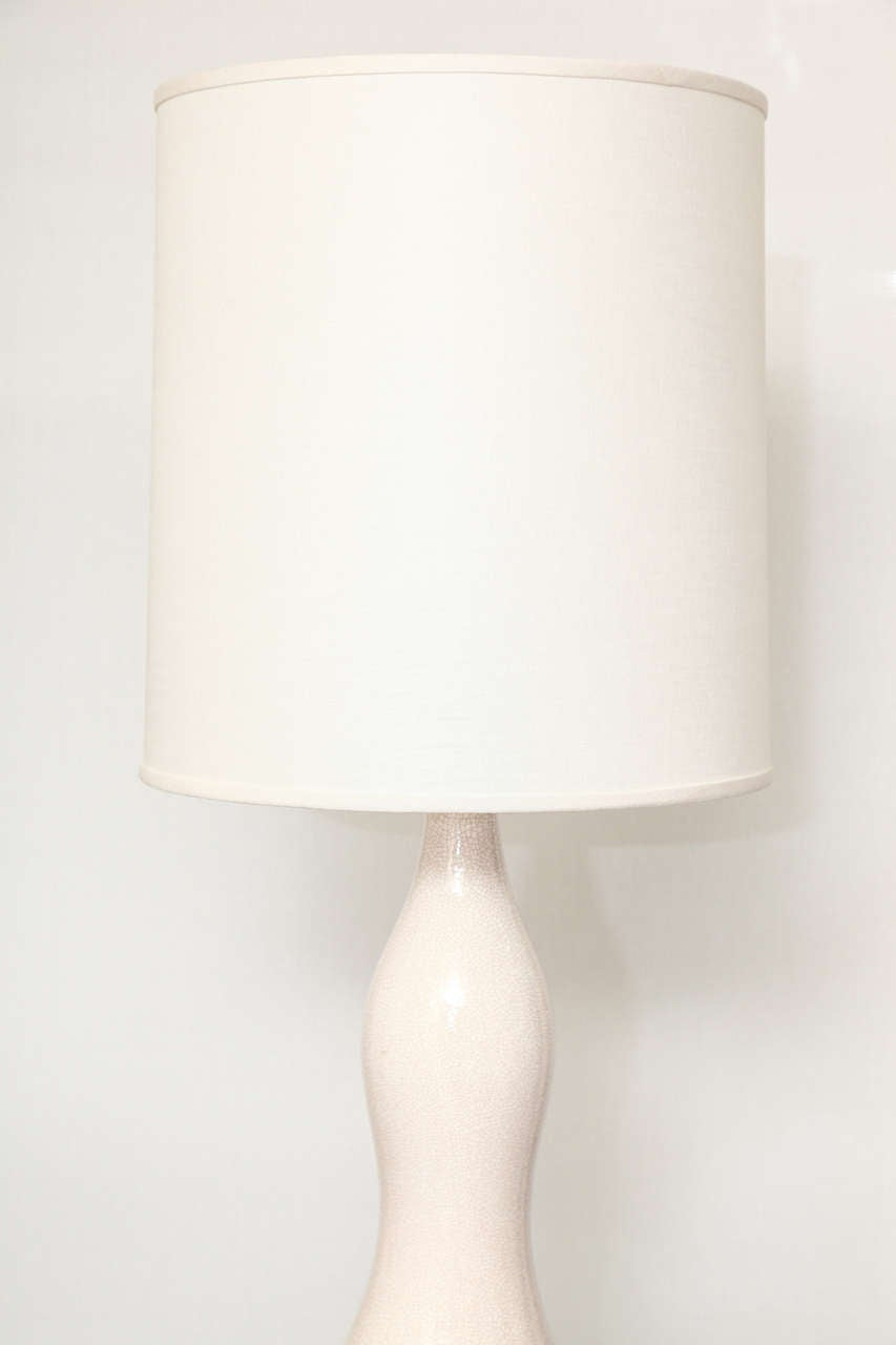tall white crackle glazed ceramic table lamp c 1950 for sale at. Black Bedroom Furniture Sets. Home Design Ideas
