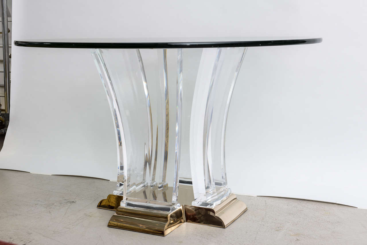 Lucite and Brass Dining Table by Jeffrey Bigelow at 1stdibs