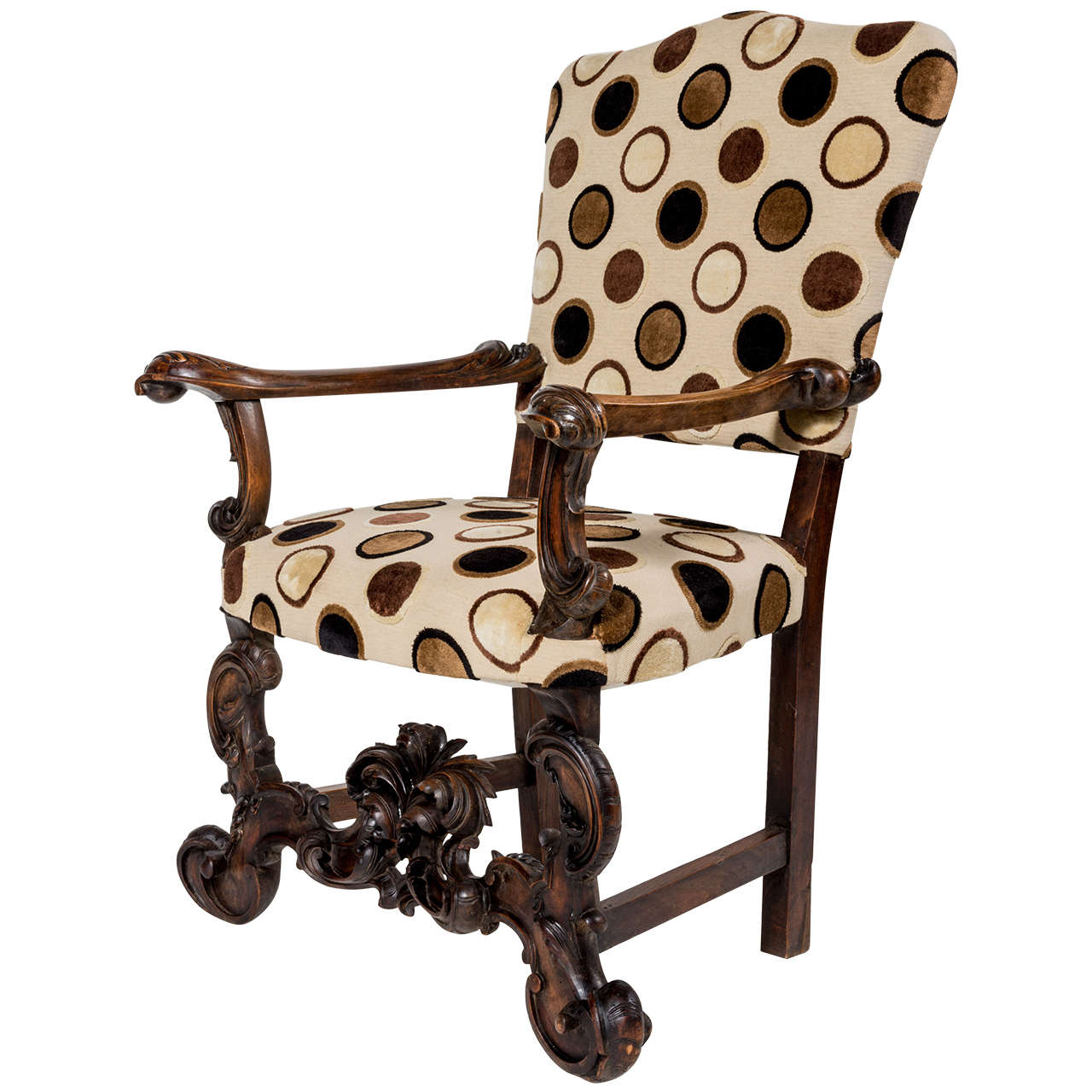 Antique italian carved oak throne chair at 1stdibs for Chair in italian