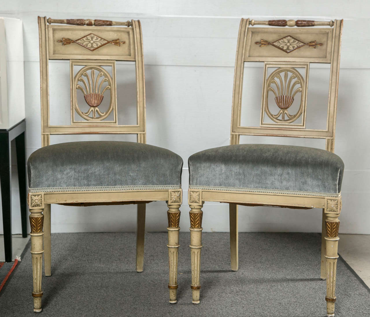 Six hollywood regency style painted side chairs by jansen