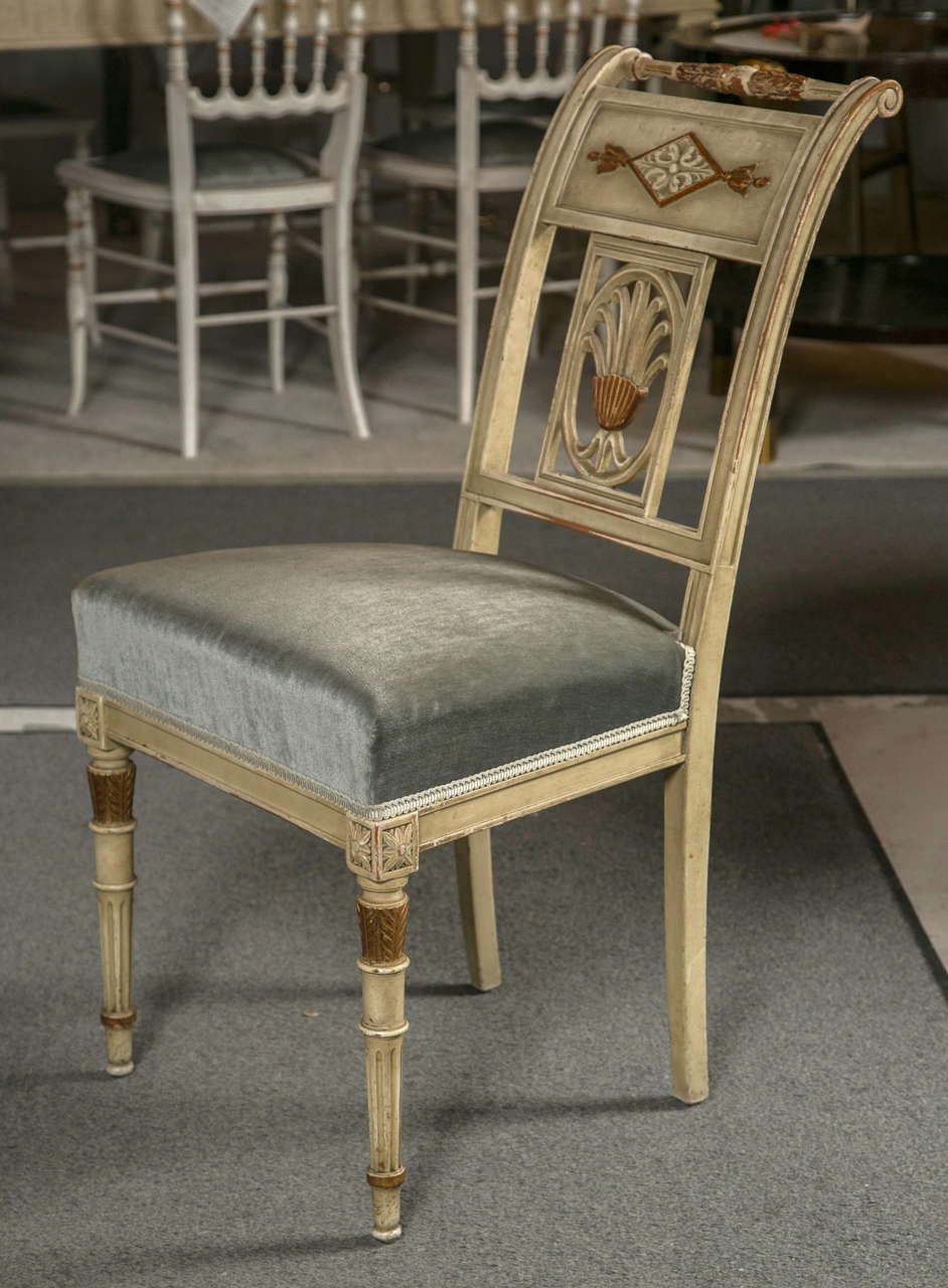 Six hollywood regency style painted side chairs by jansen for sale at 1stdibs for Regency furniture living room sets