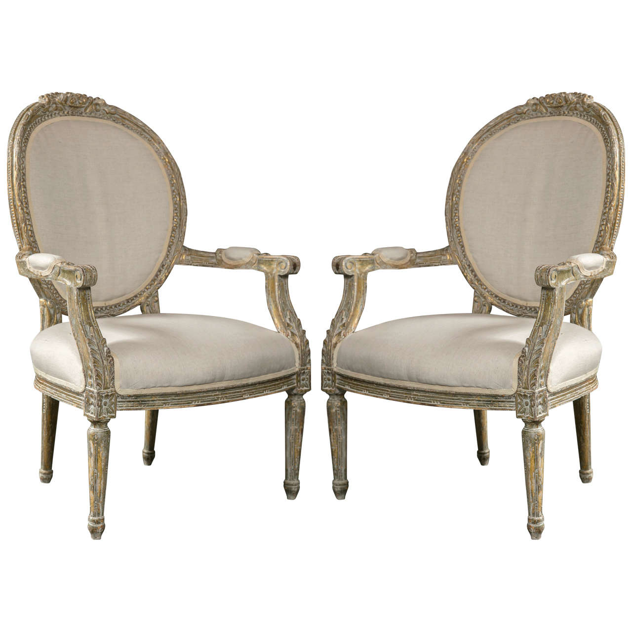 pair of french louis xvi style fauteuils at 1stdibs. Black Bedroom Furniture Sets. Home Design Ideas