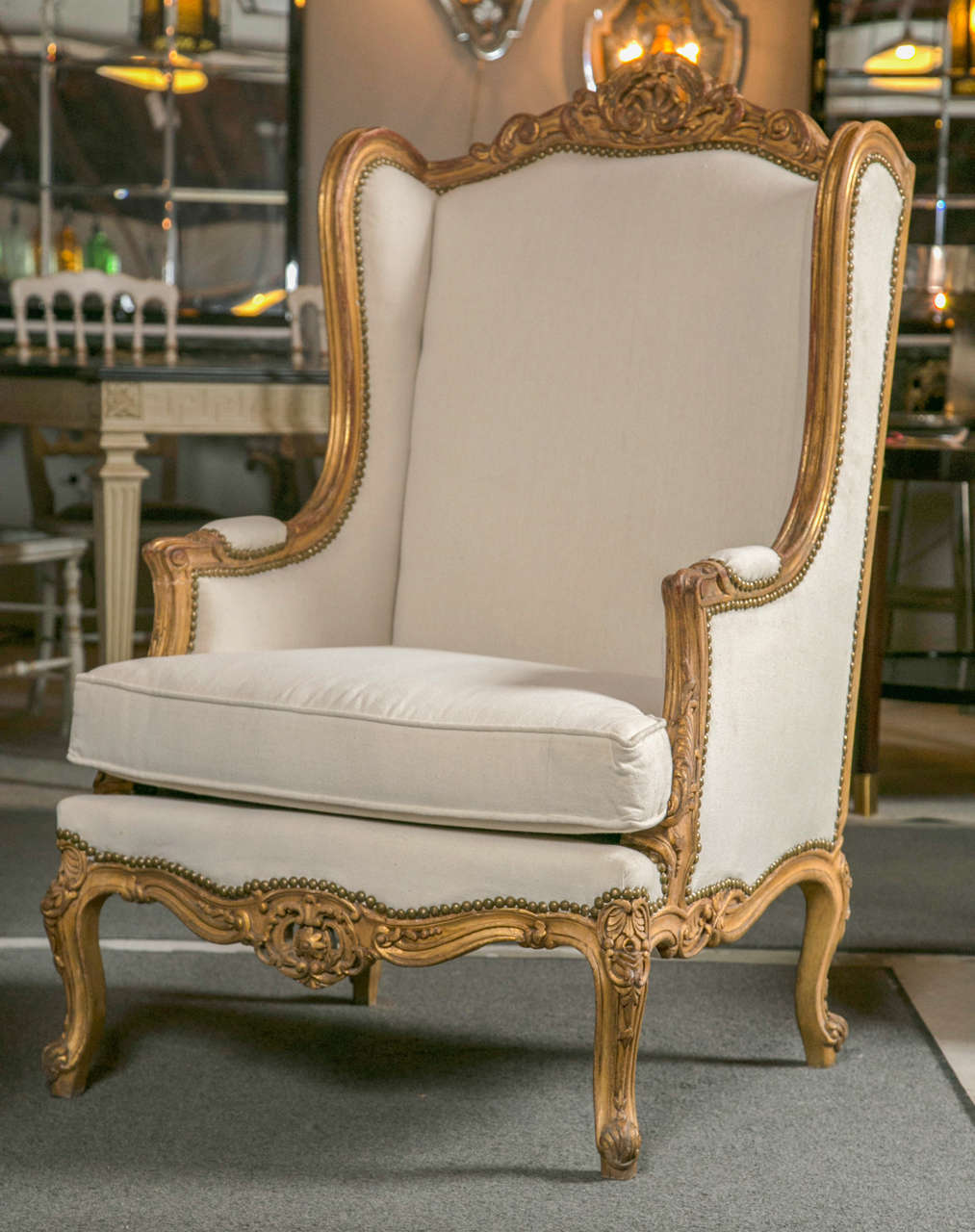 Pair of French Louis XV Style Wingback Bergere Chairs In Good Condition In Stamford, CT