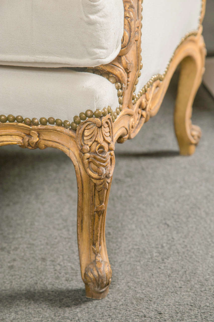 Pair of French Louis XV Style Wingback Bergere Chairs 1