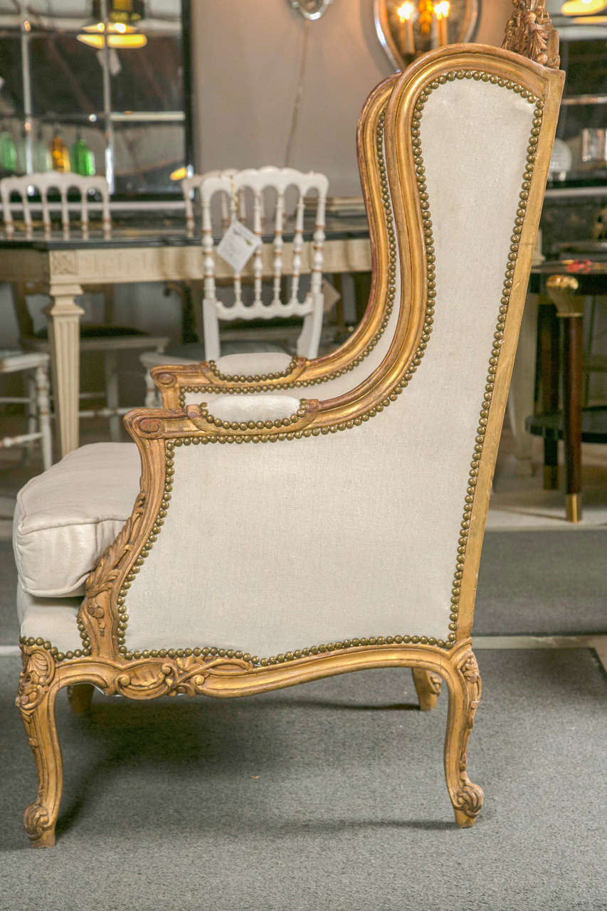 Pair of French Louis XV Style Wingback Bergere Chairs 3