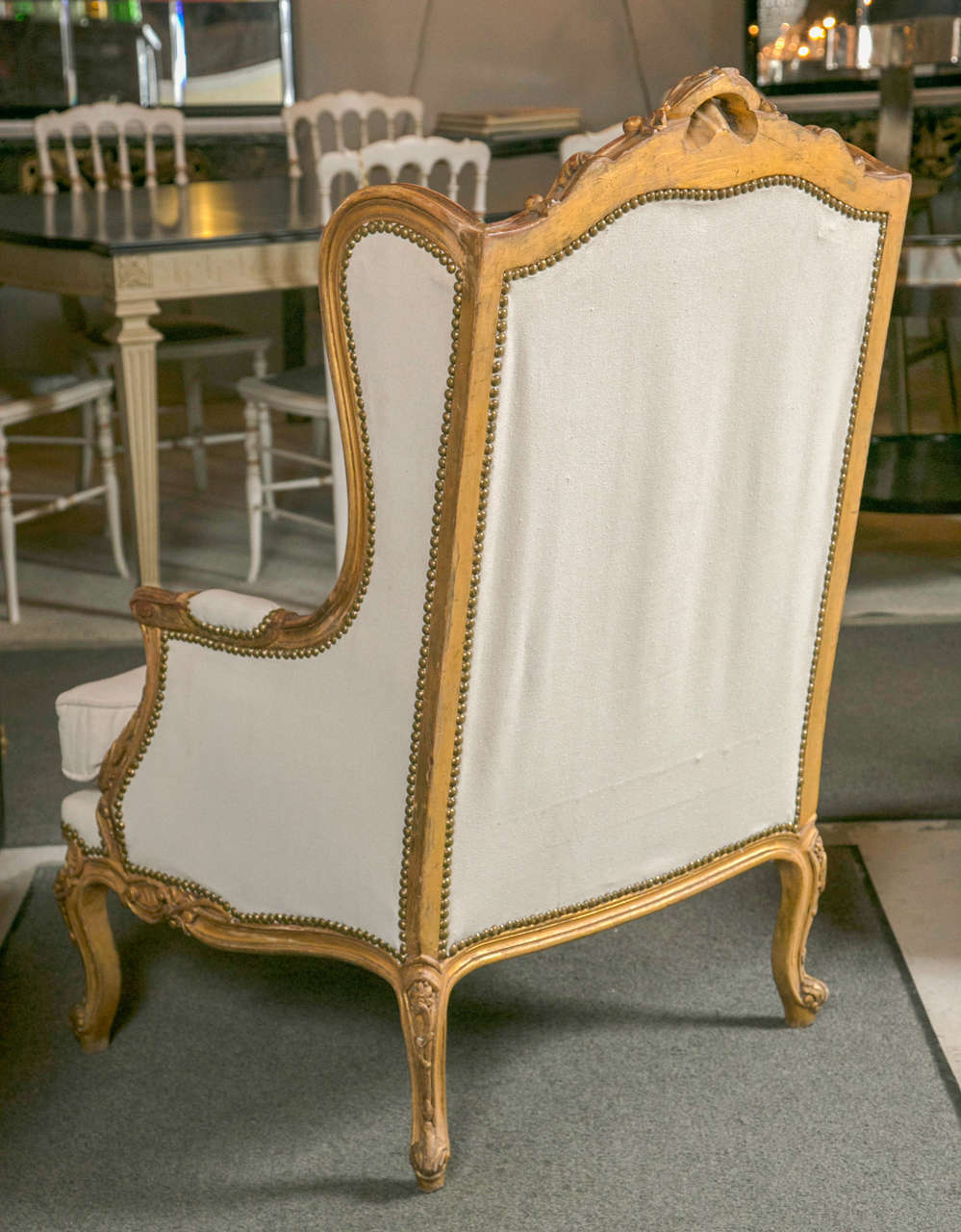 Pair of French Louis XV Style Wingback Bergere Chairs 6