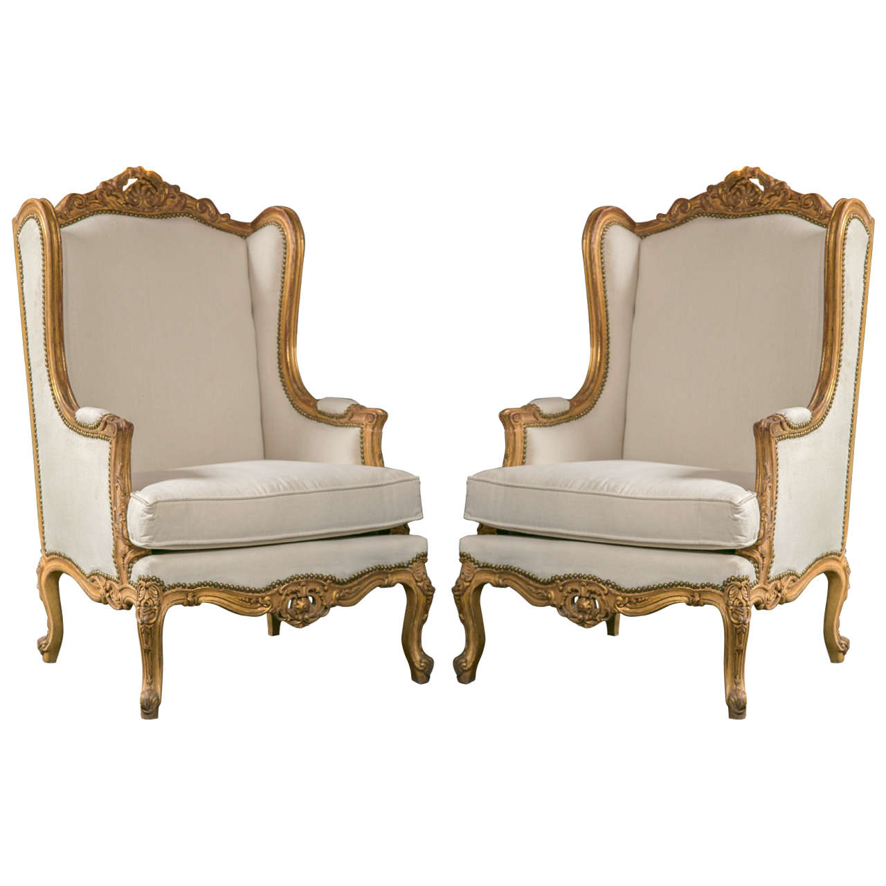 Pair Of French Louis Xv Style Wingback Bergere Chairs At