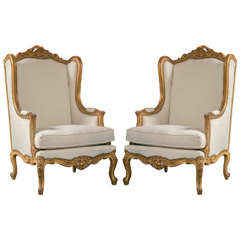 Pair of French Louis XV Style Wingback Bergere Chairs