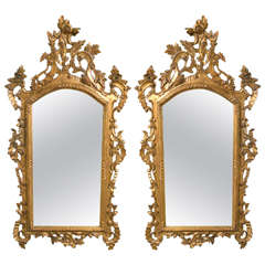 Pair of Giltwood French Carved Mirrors