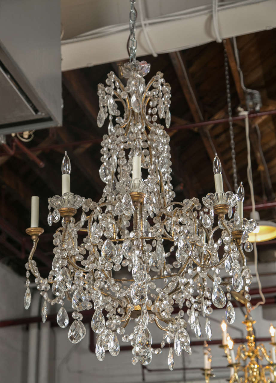 A Grand Vintage French Louis Xvi Style Basket Form Crystal Chandeliers Circa 1950s Having