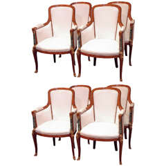 Set of Eight Antique French Briarwood Dining Chairs with Marble Pilaster