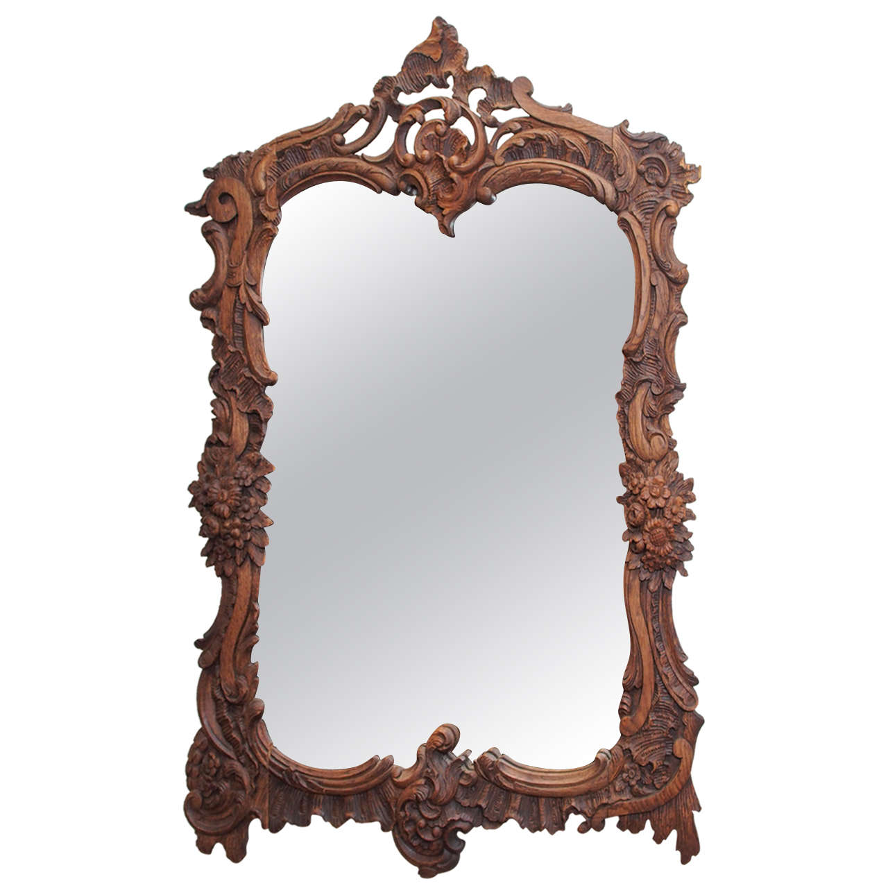 Antique french bois naturel carved chestnut mirror at 1stdibs for Antique french mirror