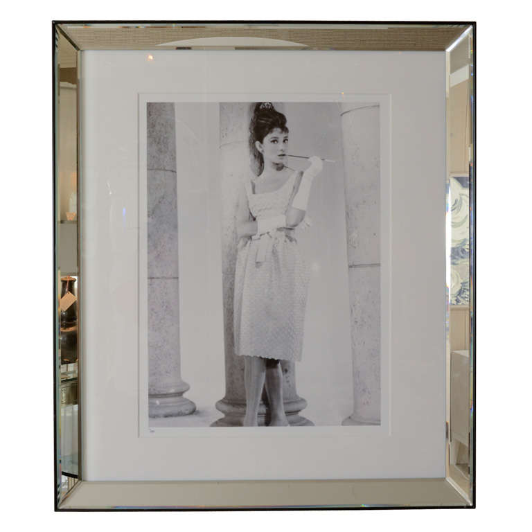 studio photograph of audrey hepburn in beveled mirrored frame at 1stdibs - Mirrored Frame